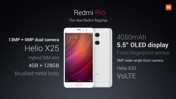 Especificaciones técnicas del Xiaomi Redmi Pro. Fuente: Xiaomi