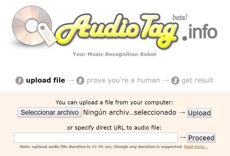 Reconocer canciones online - Audiotag