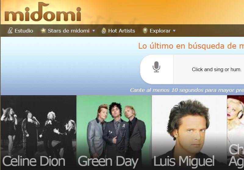 Reconocer canciones online - Midomi