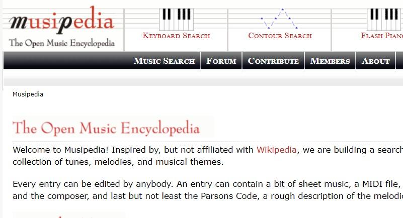 Reconocer canciones online - Musipedia
